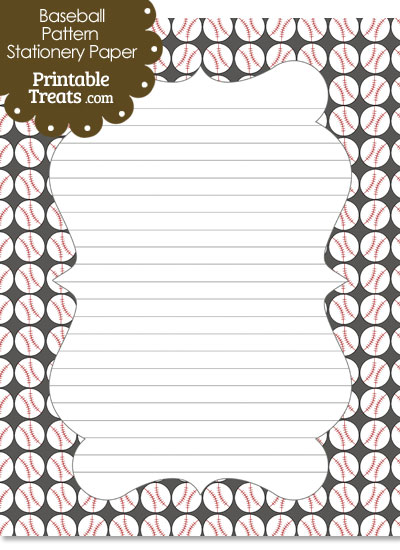 Grey Baseball Pattern Stationery Paper from PrintableTreats.com