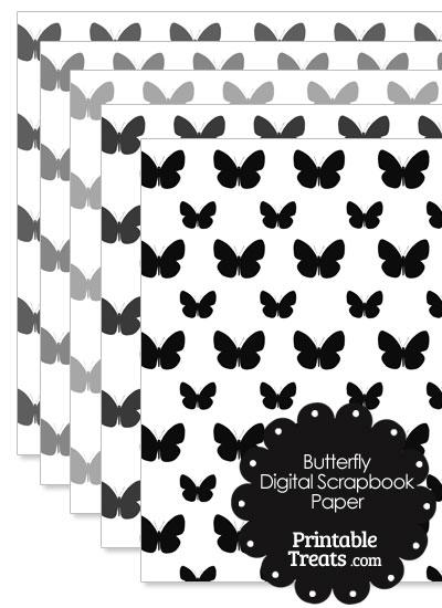 Grey Butterfly Digital Scrapbook Paper from PrintableTreats.com