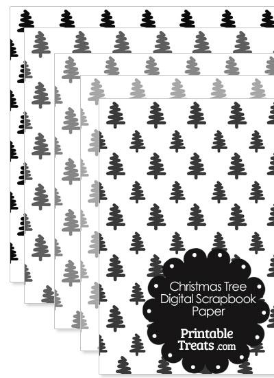 Grey Christmas Tree Digital Scrapbook Paper from PrintableTreats.com