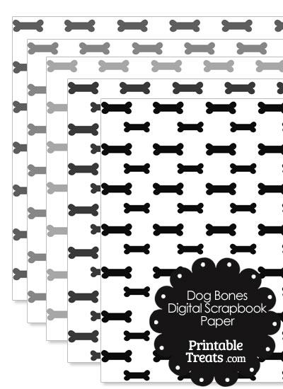 Grey Dog Bone Digital Scrapbook Paper from PrintableTreats.com