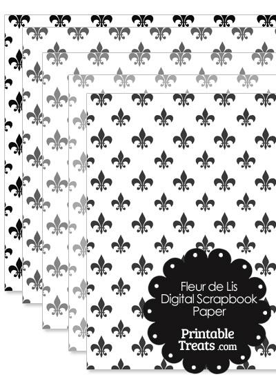 Grey Fleur de Lis Digital Scrapbook Paper from PrintableTreats.com
