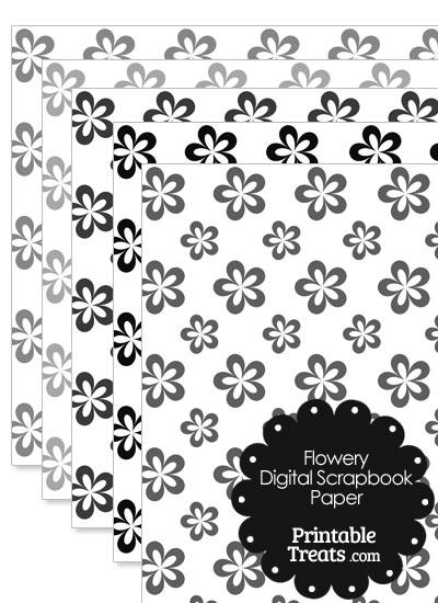 Grey Flower Digital Scrapbook Paper from PrintableTreats.com