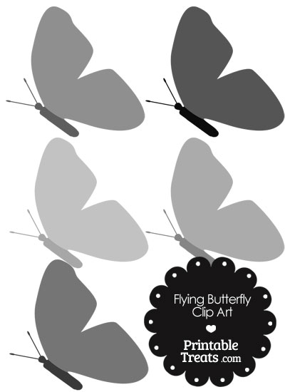Grey Flying Butterfly Clipart from PrintableTreats.com