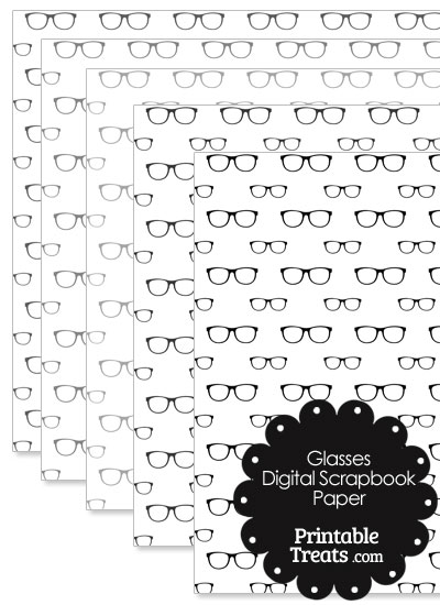 Grey Glasses Digital Scrapbook Paper from PrintableTreats.com