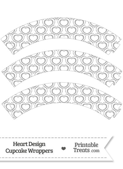 Grey Heart Design Cupcake Wrappers from PrintableTreats.com