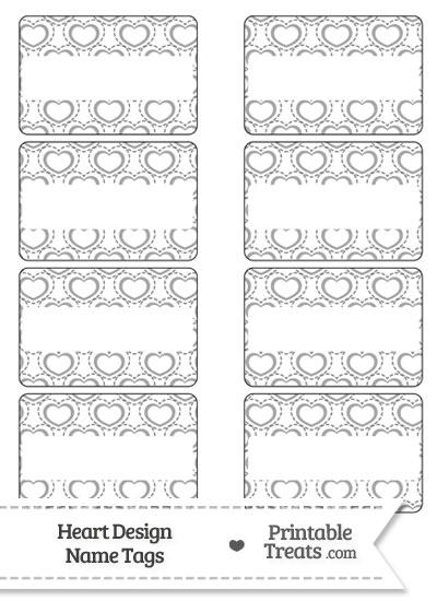 Grey Heart Design Name Tags from PrintableTreats.com