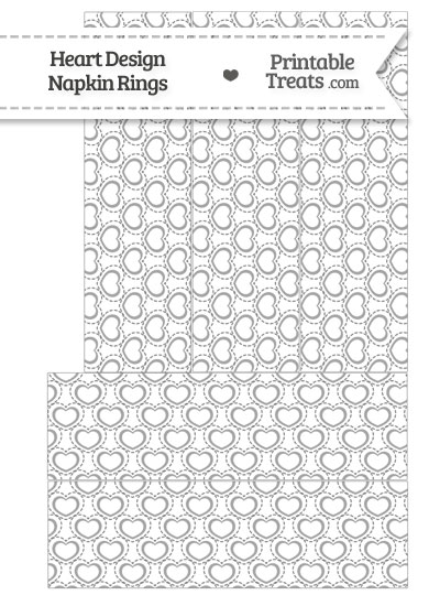 Grey Heart Design Napkin Rings from PrintableTreats.com