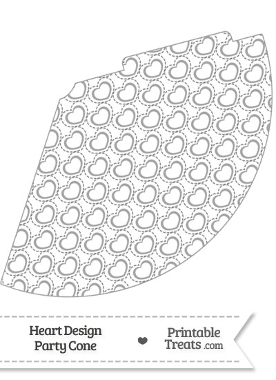 Grey Heart Design Party Cone from PrintableTreats.com