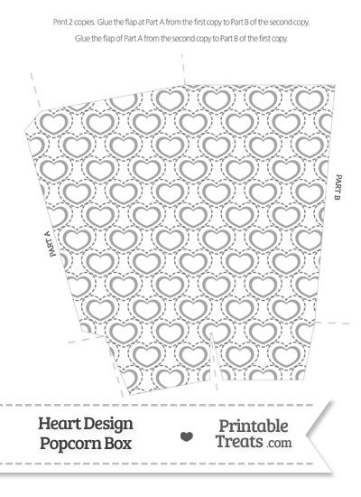 Grey Heart Design Popcorn Box from PrintableTreats.com