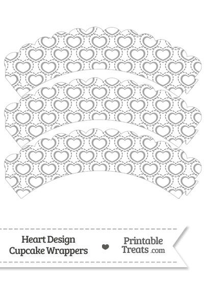 Grey Heart Design Scalloped Cupcake Wrappers from PrintableTreats.com