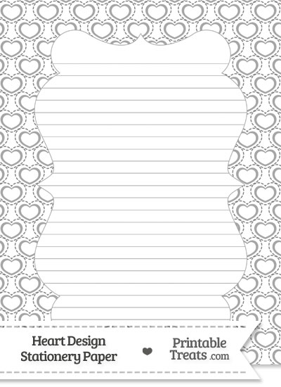 Grey Heart Design Stationery Paper from PrintableTreats.com