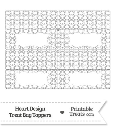 Grey Heart Design Treat Bag Toppers from PrintableTreats.com