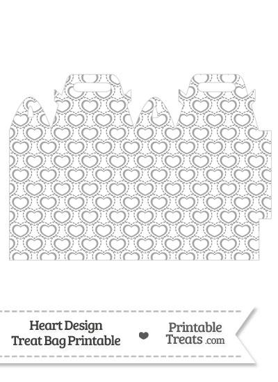 Grey Heart Design Treat Bag from PrintableTreats.com
