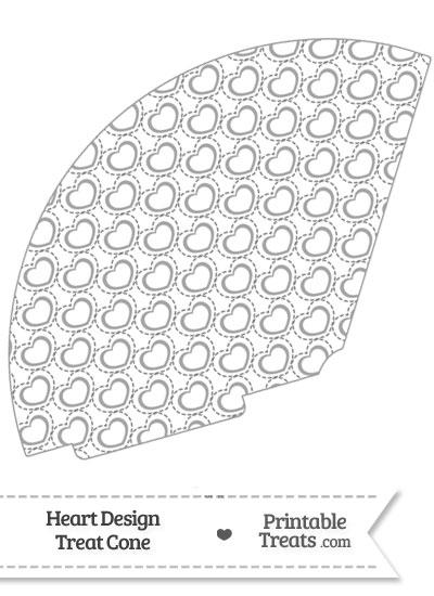 Grey Heart Design Treat Cone from PrintableTreats.com