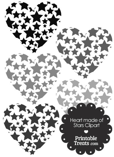Grey Heart Made of Stars Clipart from PrintableTreats.com