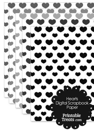 Grey Hearts Digital Scrapbook Paper from PrintableTreats.com