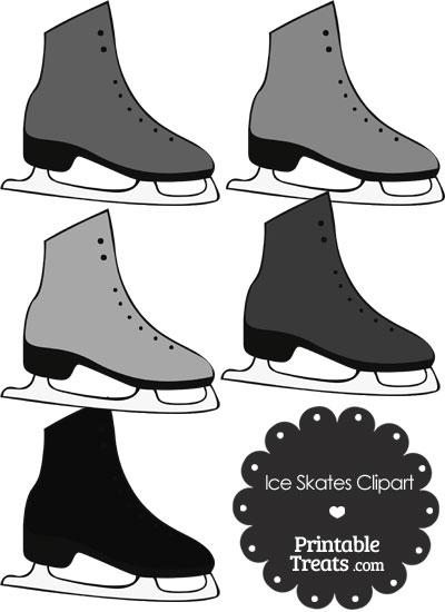 Grey Ice Skates Clipart from PrintableTreats.com