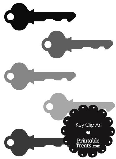Grey Key Clipart from PrintableTreats.com