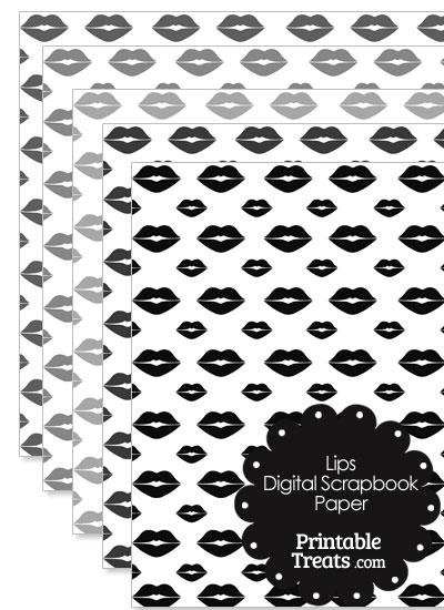 Grey Lips Digital Scrapbook Paper from PrintableTreats.com