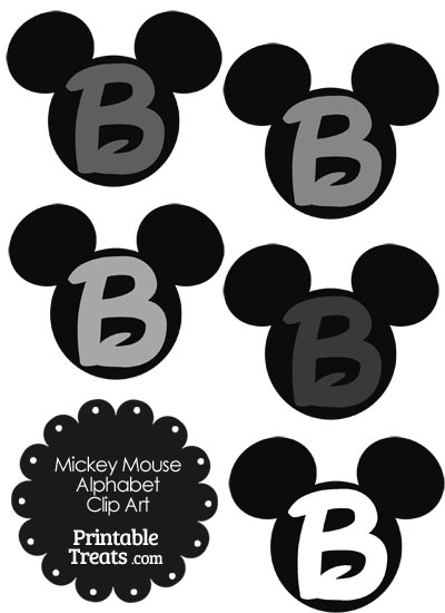 Grey Mickey Mouse Head Letter B Clipart from PrintableTreats.com