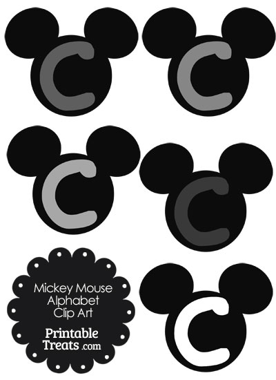 Grey Mickey Mouse Head Letter C Clipart from PrintableTreats.com