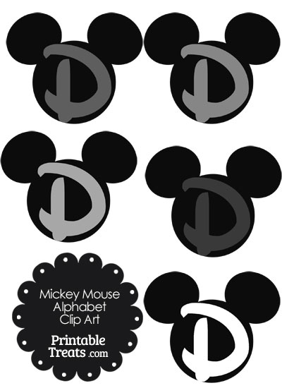 Grey Mickey Mouse Head Letter D Clipart from PrintableTreats.com