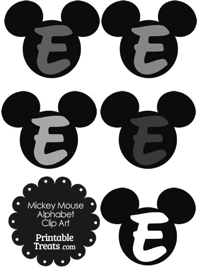 Grey Mickey Mouse Head Letter E Clipart from PrintableTreats.com