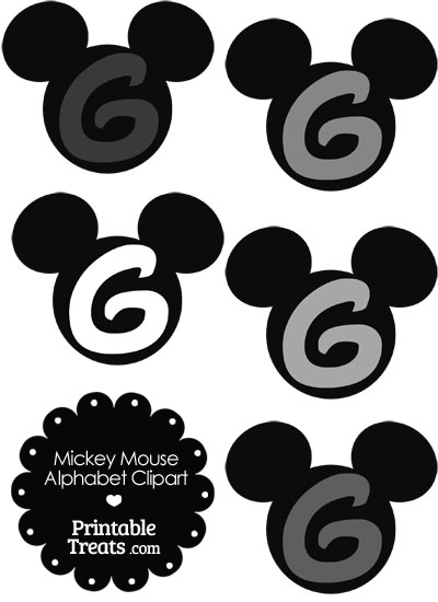 Grey Mickey Mouse Head Letter G Clipart from PrintableTreats.com