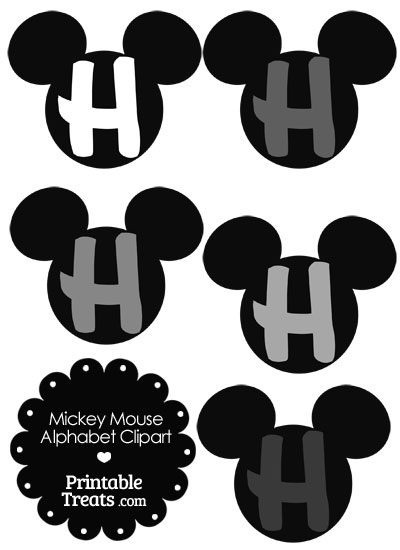 Grey Mickey Mouse Head Letter H Clipart from PrintableTreats.com