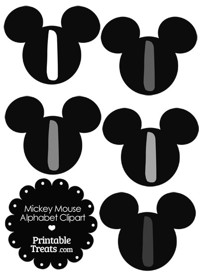 Grey Mickey Mouse Head Letter I Clipart from PrintableTreats.com
