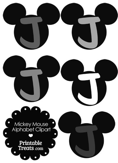Grey Mickey Mouse Head Letter J Clipart from PrintableTreats.com