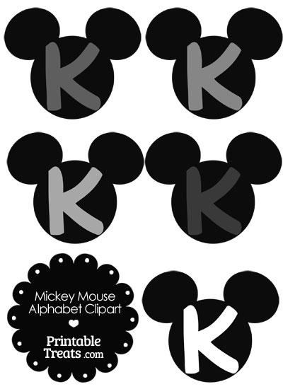 Grey Mickey Mouse Head Letter K Clipart from PrintableTreats.com