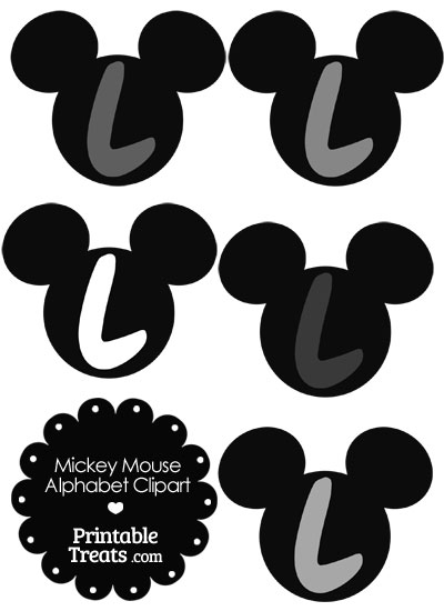 Grey Mickey Mouse Head Letter L Clipart from PrintableTreats.com