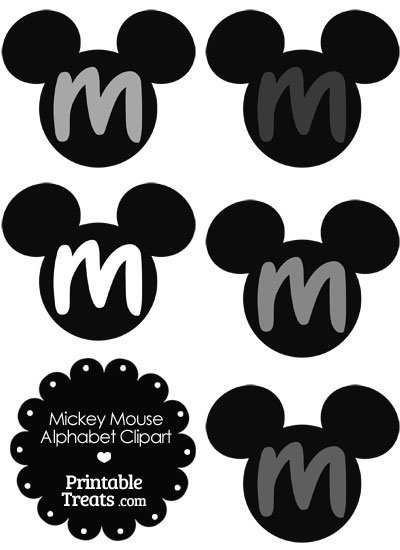 Grey Mickey Mouse Head Letter M Clipart from PrintableTreats.com