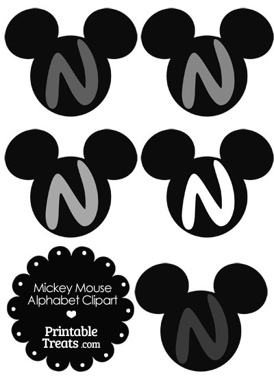 Grey Mickey Mouse Head Letter N Clipart from PrintableTreats.com