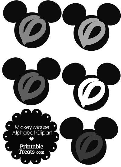 Grey Mickey Mouse Head Letter O Clipart from PrintableTreats.com