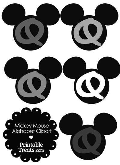 Grey Mickey Mouse Head Letter Q Clipart from PrintableTreats.com