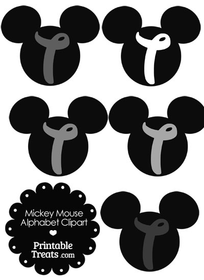 Grey Mickey Mouse Head Letter T Clipart from PrintableTreats.com