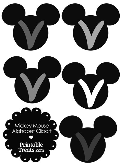 Grey Mickey Mouse Head Letter V Clipart from PrintableTreats.com