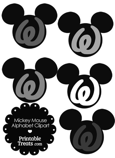 Grey Mickey Mouse Head Letter W Clipart from PrintableTreats.com