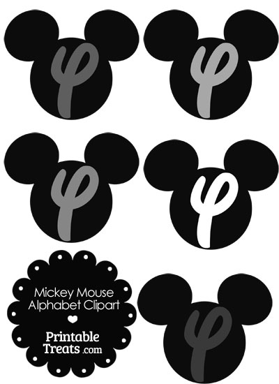 Grey Mickey Mouse Head Letter Y Clipart from PrintableTreats.com