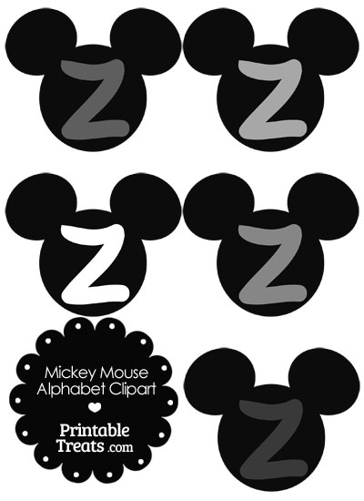 Grey Mickey Mouse Head Letter Z Clipart from PrintableTreats.com