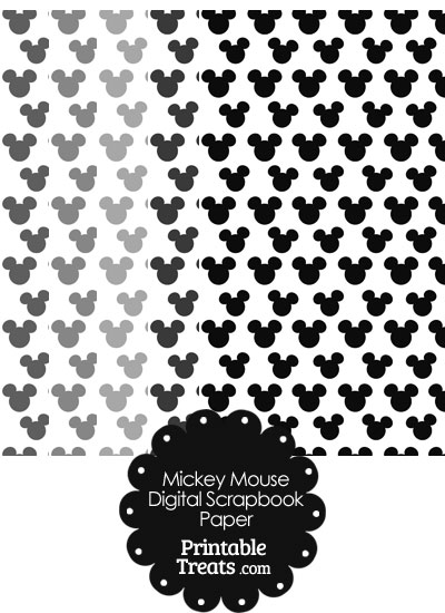 Grey Mickey Mouse Head Scrapbook Paper from PrintableTreats.com