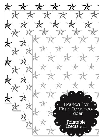 Grey Nautical Star Digital Scrapbook Paper from PrintableTreats.com