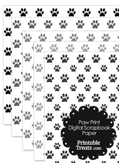Grey Paw Print Digital Scrapbook Paper from PrintableTreats.com