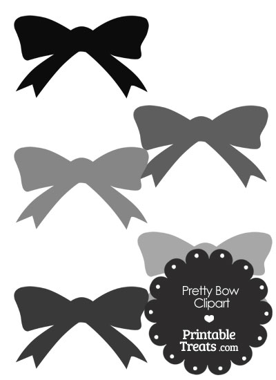 Grey Pretty Bow Clipart from PrintableTreats.com
