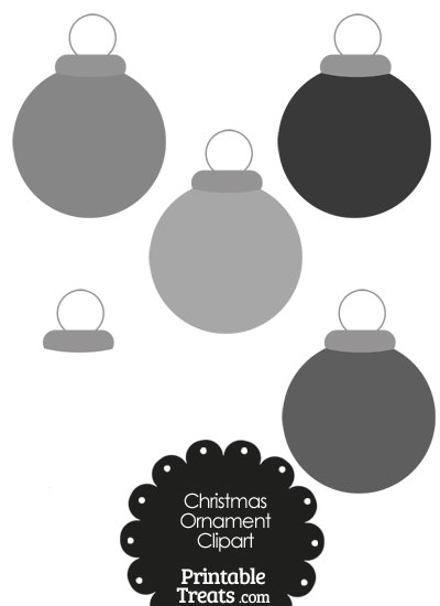 Grey Round Ornament Clipart from PrintableTreats.com