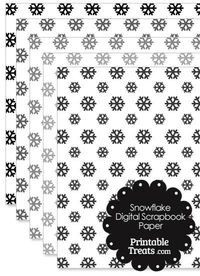 Grey Snowflake Digital Scrapbook Paper from PrintableTreats.com