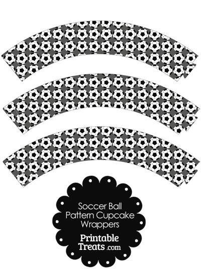 Grey Soccer Ball Pattern Cupcake Wrappers from PrintableTreats.com