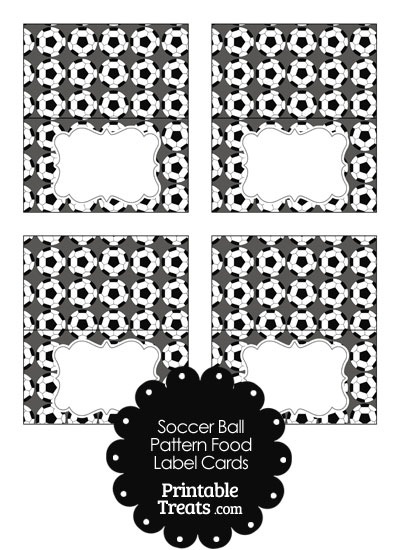 Grey Soccer Ball Pattern Food Labels from PrintableTreats.com